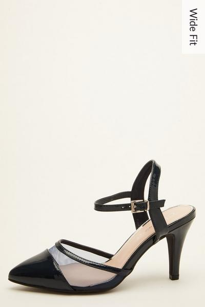 Wide Fit Navy Patent Mesh Courts